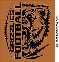 grizzlies football team design with mascot and laces for...