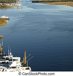 Intra coastal waterway - View of the boats along the...