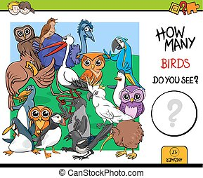 counting birds educational game for kids - Cartoon...