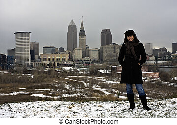 Cleveland Girl enyoing winter in the city