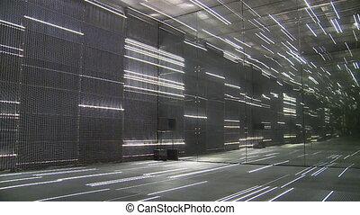 Modern laser lights installation room. Static shot