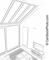 Drawing and planned Modern living room with large windows....