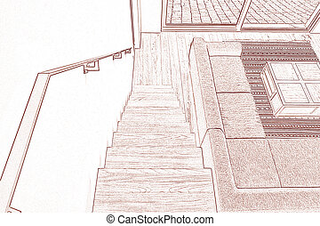 Drawing and planned Hardwood stairs and ramp in modern...