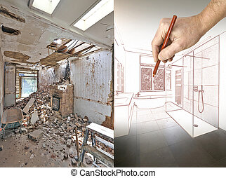 Drawing and planned Renovation of a bathroom Before and...