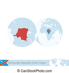 Democratic Republic of the Congo on world globe with flag and regional map of DR Congo.