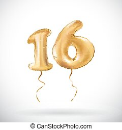 vector Golden number 16 sixteen metallic balloon. Party decoration golden balloons. Anniversary sign for happy holiday, celebration, birthday, carnival, new year.