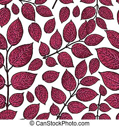 Seamless pattern of birch, honeysuckle dark red leaves -...