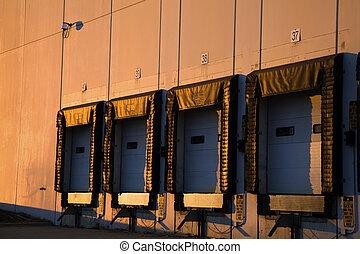 Golden light on the warehouse
