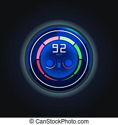 Speedometer for electric car with battery charge
