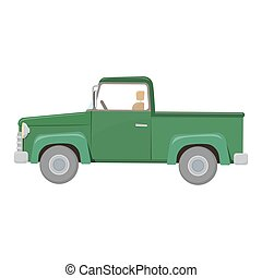 Green pick-up truck, colorful cartoon illustration. Farming...