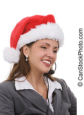 Holiday Sales Support - Young woman in santa hat and phone...