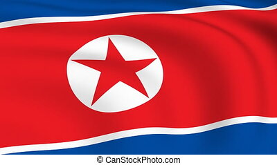 Flying Flag of NORTH KOREA | LOOPED |