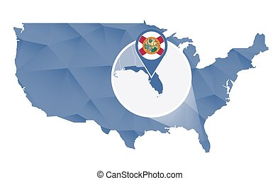 Vector Clip Art Of Florida State On USA Map Florida Flag And Map - Us map florida state