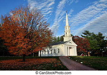 Chapel Path - a brick path leading to a historic New England...