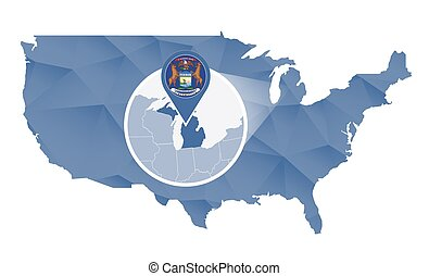 Michigan State magnified on United States map. Abstract USA...