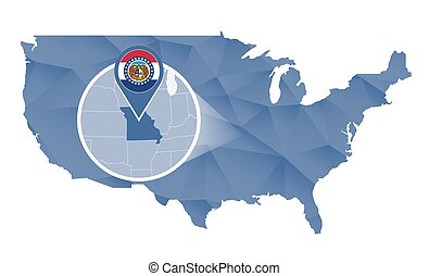 Missouri State magnified on United States map. Abstract USA...