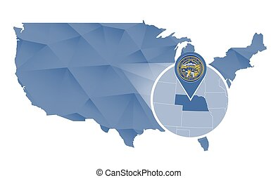 Clip Art Vector Of Nebraska State In The United States Map Vector - Us map nebraska state
