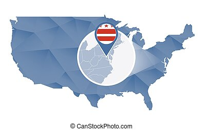 District of Columbia magnified on United States map....