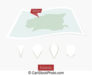 Curved paper map of Estonia with capital Tallinn on Gray Background. Four different Map pin set.