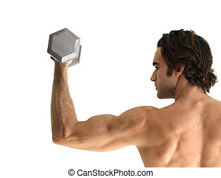 Bicep curl - Good looking fitness model doing a bicep curl...