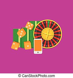 Online gambling flat illustration colored on purple background. Roulette, dice cubes, mobile phone and bundle of cash. Vector concept.