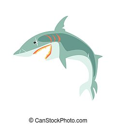 Reef shark showing the mouth and teeth cartoon vector...