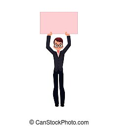 Vector office worker with empty pink banner - Vector office...
