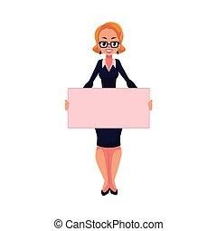 Girl, woman, businesswoman on strike holding empty board