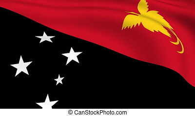 Flying Flag of PAPUA NEW GUINEA | LOOPED |