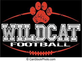wildcat football - distressed wildcat football team design...