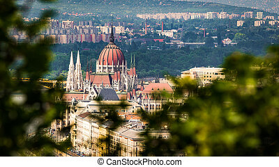 Parliament Building in Budapest from elevated view from...