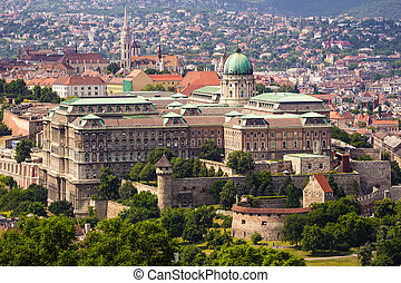 Buda Castle from elevated view - Buda Castle in Budapest...