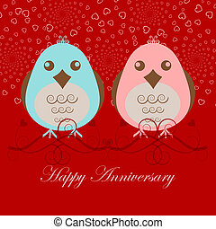Happy Anniversary Two Love Birds Pink Blue on Red Background