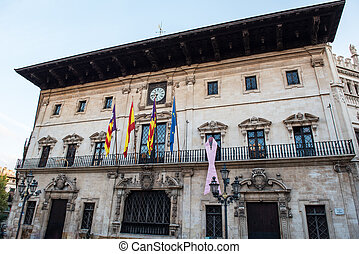 historical city hall in Palma de Majorca in the evening