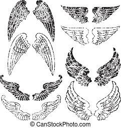 grunge, anjo, asas