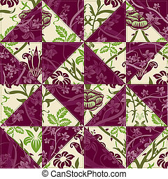 Flower Patchwork - Green and Purple Flower Patchwork