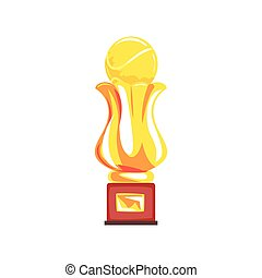 Award tennis sport golden trophy cup cartoon vector Illustration