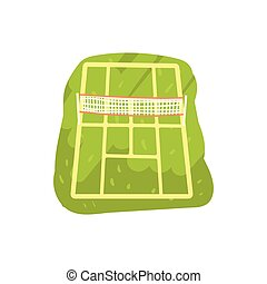 Green tennis court cartoon vector Illustration on a white...