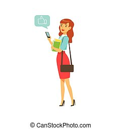 Young elegant woman standing and sending a message to someone using her smartphone colorful character vector Illustration