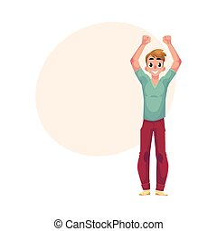 Young man, boy, guy, rejoicing, cheering, jumping in...