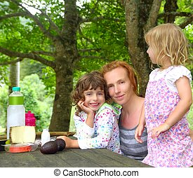 Mother daughter family picnic outdoor park happy day
