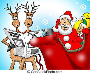 Santa with GPS - Image of Santa with Reindeer and an Elf...