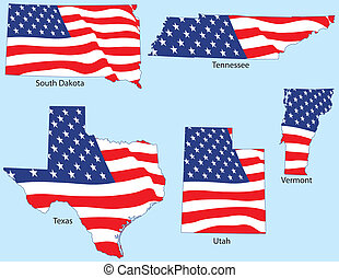 Five States with Flags - South Dakota, Tennessee, Texas,...