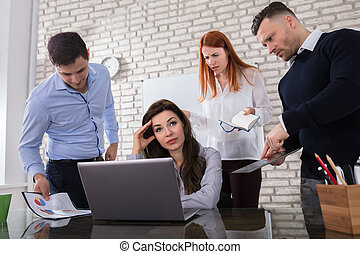 Worried Business Woman With Her Colleague - Young Worried...