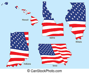 Five States with Flags - Hawaii, Idaho, Illinois, Indiana...