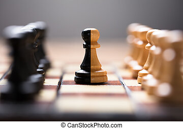Double Color Pawn Amidst Other Chess Pieces On Board -...