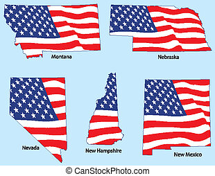 Five States with Flags
