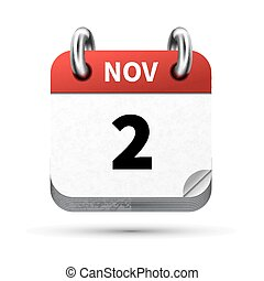 Bright realistic icon of calendar with 2 november date...