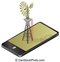 Wind pump for pumping of water on farm in mobile phone.