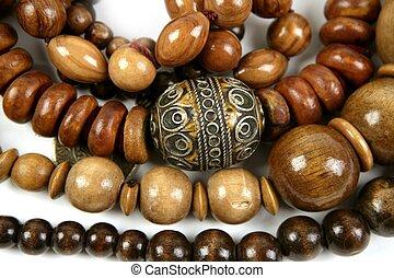 africano, de madera, collares, joyería, textura